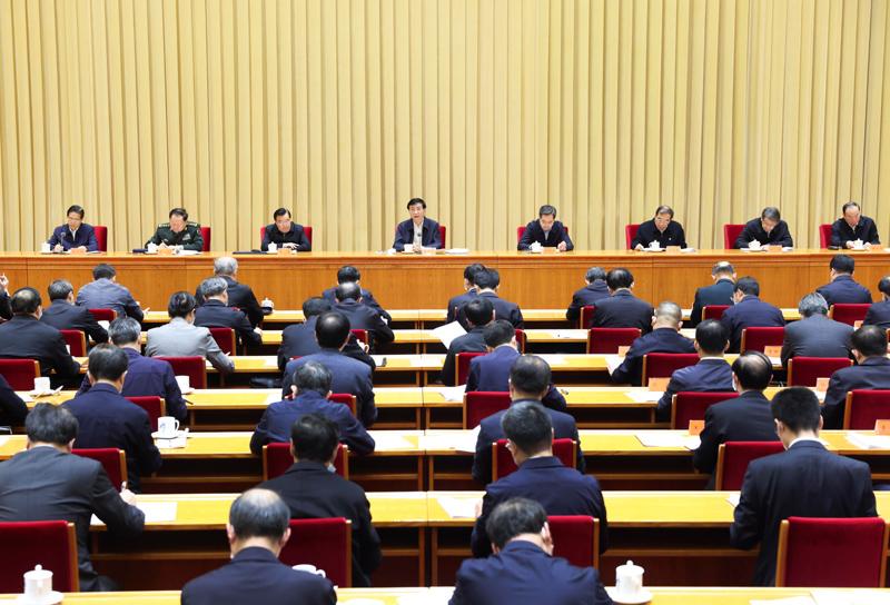 11月17日,中共中央政治局常委、中央书记处书记王沪宁在北京出席中央全面依法治国工作会议并作总结讲话。新华社记者 庞兴雷 摄