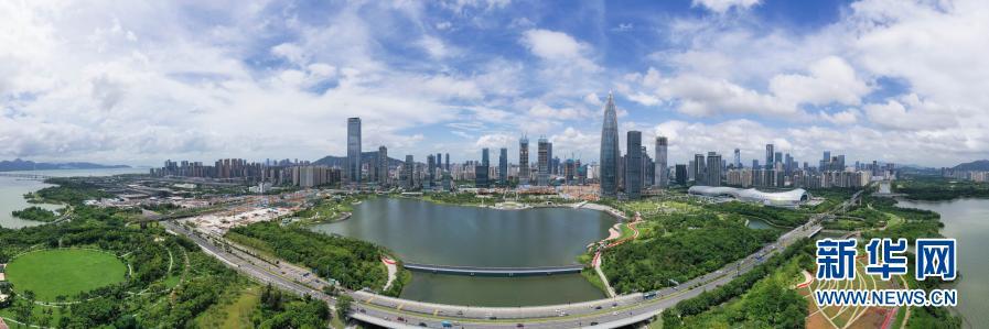 2020年9月17日拍摄的深圳市南山区后海片区(无人机全景照片)。新华社记者 陈晔华 摄