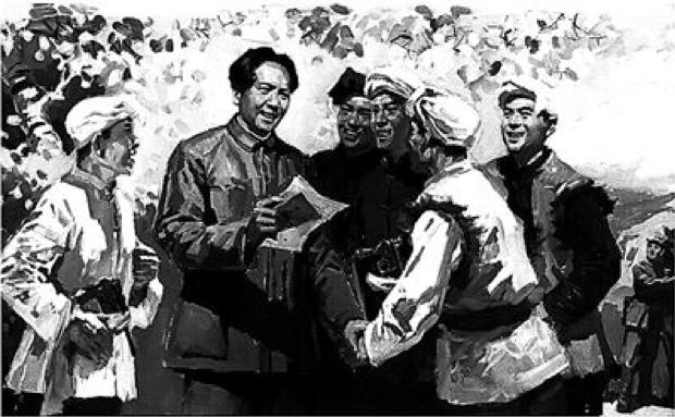 △毛泽东收到刘志丹的亲笔信,兴奋地向大家宣布即将到陕北的消息。(图片来自《毛主席在长征途中》一书)