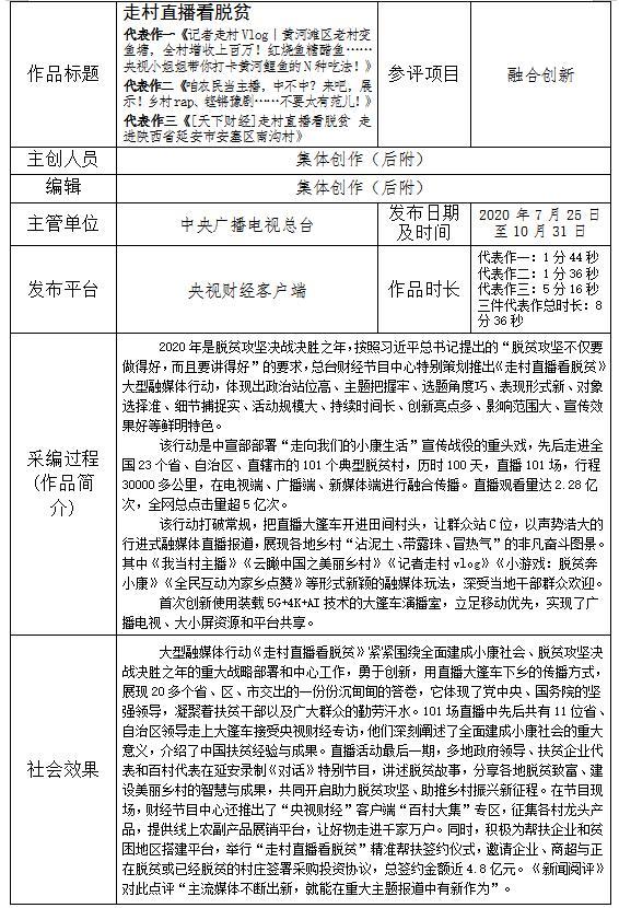 总台参评第三十一届中国新闻奖媒体融合奖项融合创新作品《走村直播看脱贫》参评材料补充公示
