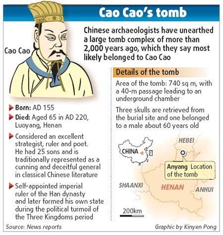 CaoCao(155-220A.D.),whobuiltthestrongestandmostprosperousstateduringtheThreeKingdomperiod(208-280A.D.),isrememberedforhisoutstandingmilitaryandpoliticaltalents.