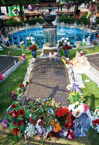 The tomb of Elvis Presley in the grounds of Graceland, his mansion in Memphis, Tennessee.