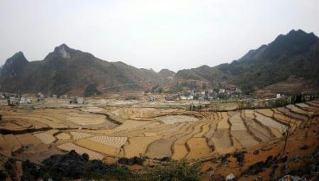 Photo taken on March 17, 2010 shows the thirsty fields of a terrace in Donglan County, southwest China's Guangxi Zhuang Autonomous Region. The drought in Donglan County, one of the drought-stricken areas in Guangxi, had affected 82,300 Mu (5486 hectares) of farmland by March 17 and 81,600 people were denied easy access to drinking water. The local government and people were mobilized to fight against the drought here. (Xinhua/Zhang Ailin)