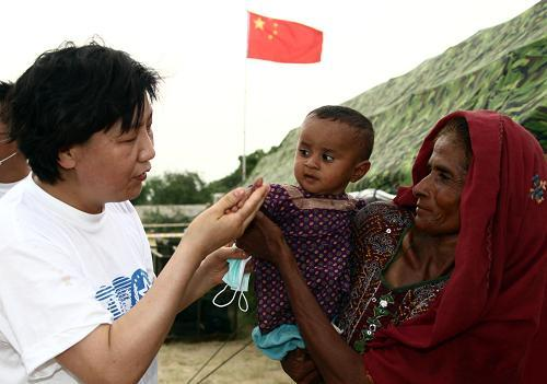 China's international rescue and relief team has arrived in one of the worst-hit areas of flood stricken Pakistan. The team has set up field hospitals to provide first aid to so many flood victims desperate for medical help.