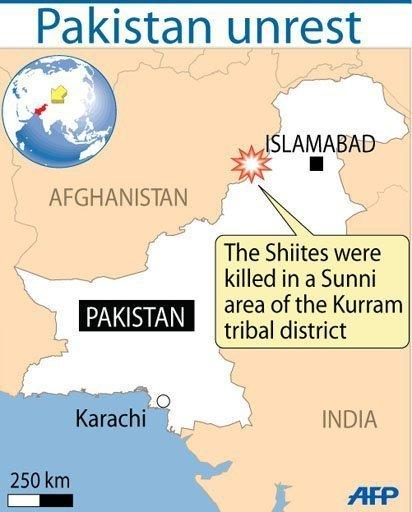 Map of Pakistan locating the Kurram tribal district. Sixteen Shiite Muslims have been killed and four wounded in an apparent sectarian ambush in a remote tribal town in northwest Pakistan.