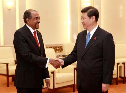 Chinese Vice President Xi Jinping (R) meets with Michel Sidibe, executive director of the Joint UN Program on HIV/AIDS (UNAIDS) in Beijing, capital of China, Aug. 11, 2010. (Xinhua/Pang Xinglei)
