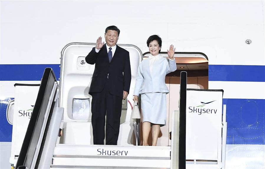 Chinese President Xi Jinping and his wife Peng Liyuan disembark from the airplane upon their arrival at the airport in Athens, Greece, Nov. 10, 2019. Chinese President Xi Jinping arrived in Greece Sunday for a three-day state visit to consolidate traditional friendship and strengthen cooperation between the two countries. (Xinhua/Xie Huanchi)