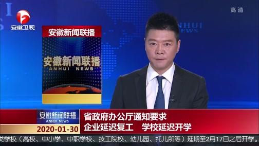 [安徽新闻联播]省政府办公厅通知要求 企业延迟复工 学校延迟开学