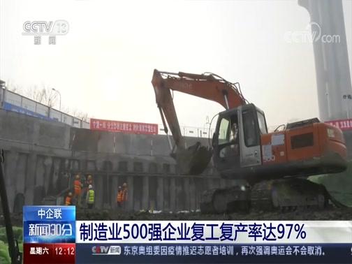 [新闻30分]中企联 制造业500强企业复工复产率达97%