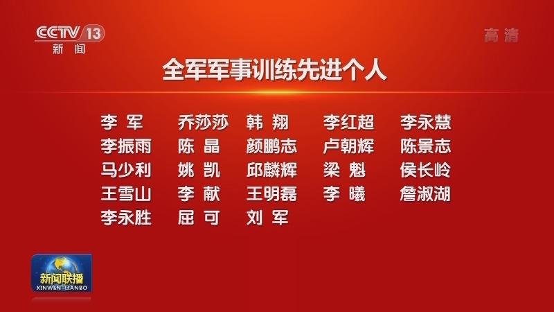 中央军委表彰全军军事训练先进单位和先进个人