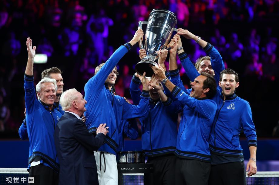 [图]费德勒兹维列夫力挽狂澜 欧洲队夺得拉沃尔杯