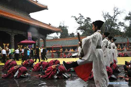 A ceremony is held to mark the 2,565th anniversary of Confucius