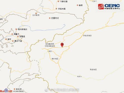 新疆喀什地区伽师县发生4.8级地震 在震源深度10公里