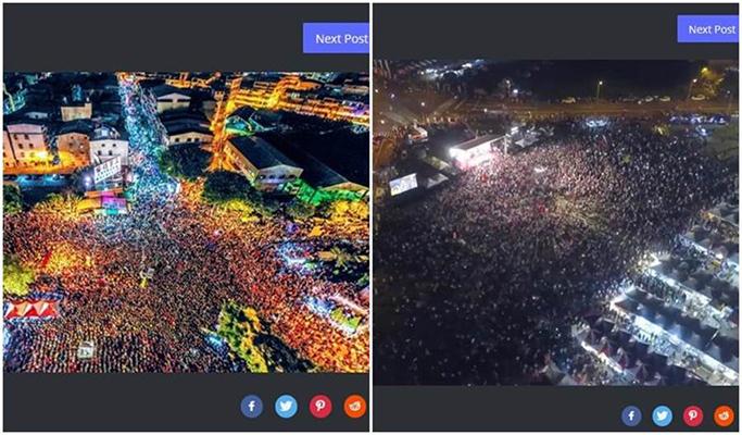 """左图为选前在凤山的造势大会,大家都坐椅子,一格一格的,密度比较高。右图为27日""""挺韩大会""""的空拍图,人气也很旺。(图片来源:台湾""""中时电子报"""")"""