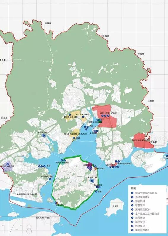 厦门市海洋渔业重点招商片区图