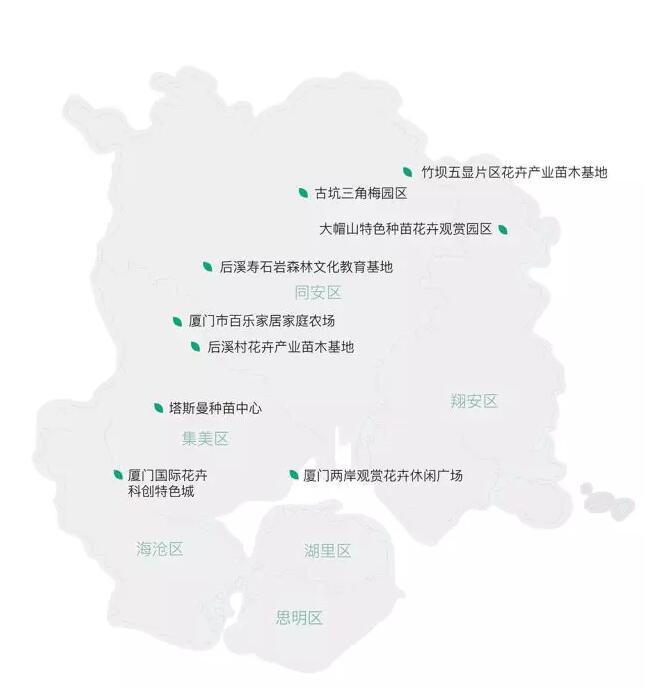 厦门市花卉林业重点招商片区图