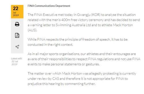 国际泳联发表声明,决定对澳大利亚游泳协会和马克·霍顿予以警告。图片来源:FINA官网