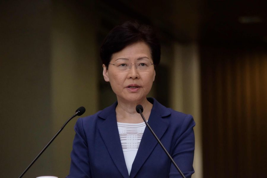 "Chief Executive of HKSAR Carrie Lam says the most urgent task for Hong Kong now is to stop violence and safeguard the rule of law to prevent Hong Kong from sinking into ""an abyss and being smashed to pieces"" in Hong Kong, south China, Aug. 13, 2019. (Xinhua/Lui Siu Wai)"