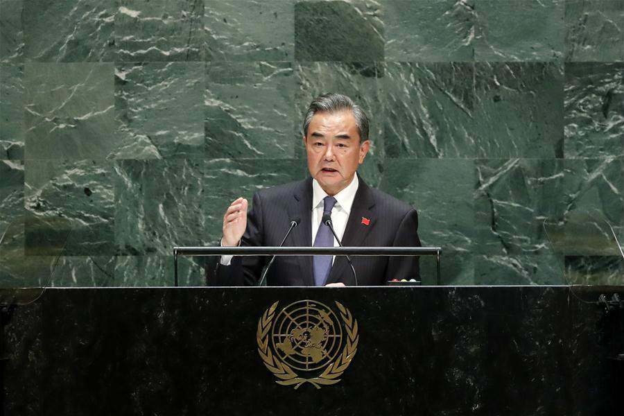 Chinese State Councilor and Foreign Minister Wang Yi addresses the General Debate of the 74th session of the UN General Assembly at the UN headquarters in New York, on Sept. 27, 2019. (Xinhua/Li Muzi)