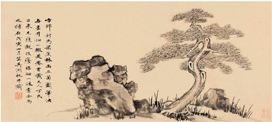 陈巨来 吴湖帆 松石图 34.5×73.5cm 1938年作 朵云轩2013秋拍 成交价103.5万元