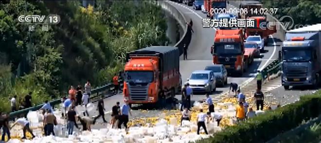 30吨橘子散落高速 下一幕发生的事情太暖心了